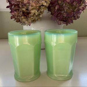 Fenton • Vintage Jadeite Green Glass Tumblers Pair